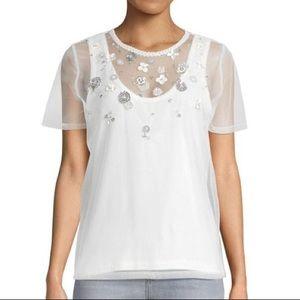 NWT Elie Tahari Helmslee Knit Beaded White Top XS